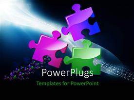 PowerPlugs: PowerPoint template with three color puzzle converging with nice wave of puzzles