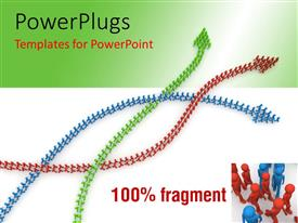 PowerPlugs: PowerPoint template with three colored curved lines formed by 3D men with arrow head