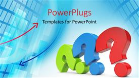 PowerPoint template displaying three colored question marks laid on one another with blue color