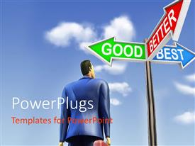 PowerPlugs: PowerPoint template with a number of signs with clouds in background