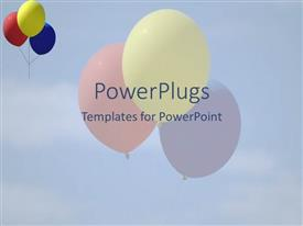 PowerPlugs: PowerPoint template with three colorful balloons in the air with bluish background