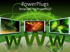 PowerPlugs: PowerPoint template with three computer monitors atop WWW and reflective surface with green background