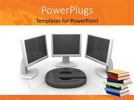 PowerPlugs: PowerPoint template with three computer monitors with large 3D email symbol and book pile