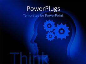 PowerPlugs: PowerPoint template with three connected 2D gears inhumanhead with word THINK