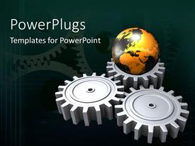 PowerPlugs: PowerPoint template with three connected chrome gear wheels with earth globe sitting on one