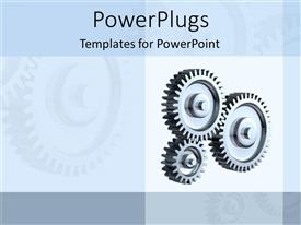 PowerPlugs: PowerPoint template with three connected gears on grey background