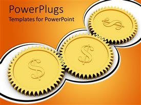 PowerPlugs: PowerPoint template with three connected golden gears with dollar sign on white background