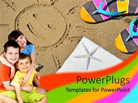PowerPlugs: PowerPoint template with three cute happy kids smiling happily on a beach