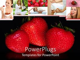 PowerPoint template displaying three cute strawberries arranged on black background with collage of woman eating