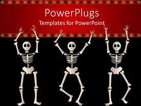 PowerPlugs: PowerPoint template with three dancing skeletons against a red and black background with yellow stars