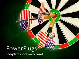 PowerPlugs: PowerPoint template with three darts hitting the center on black ad white dart board
