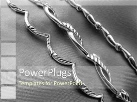 PowerPlugs: PowerPoint template with three decorated silver straight chains on an ash colored background