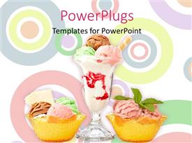 PowerPlugs: PowerPoint template with three delicious multi flavor ice cream glasses