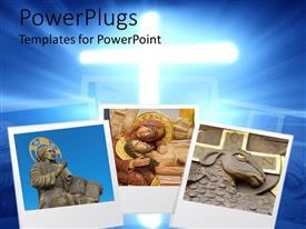 PowerPoint template displaying three depictions of religious items and statues over glowing cross on blue background