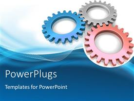 PowerPlugs: PowerPoint template with three different color metal gears over blue background