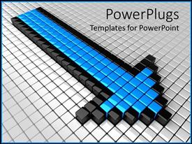 PowerPoint template displaying three dimensional black and blue boxes forming arrow on white tiled floor
