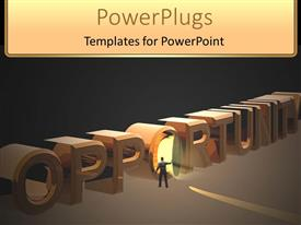 PowerPlugs: PowerPoint template with three dimensional block of opportunity with man opening door
