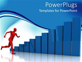 PowerPoint template displaying three dimensional blue bar charts with man running