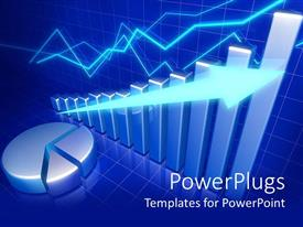 PowerPoint template displaying three dimensional business charts indicate consistent growth