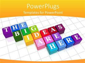 PowerPlugs: PowerPoint template with three dimensional colored boxes with text placed on white tiled floor