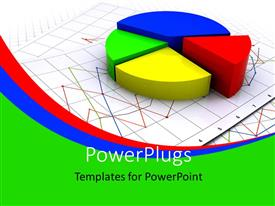 PowerPoint template displaying three dimensional exploded pie chart on business charts