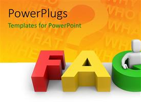 PowerPlugs: PowerPoint template with three dimensional FAQ with white figure on question background