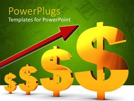 PowerPlugs: PowerPoint template with three dimensional gold dollar signs with red upward pointing arrow