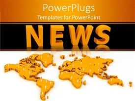 PowerPlugs: PowerPoint template with three dimensional gold map dotted with white figures below word News