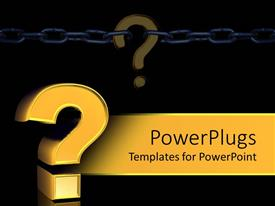 PowerPlugs: PowerPoint template with three dimensional gold question mark on background with chained interrogative
