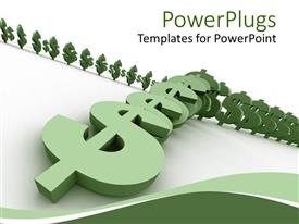 PowerPlugs: PowerPoint template with three dimensional green dollar signs arranged like falling dominoes