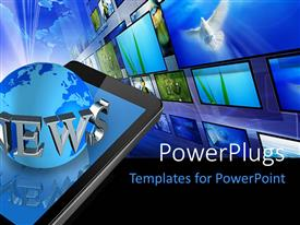 PowerPlugs: PowerPoint template with three dimensional mobile phone and news world globe with keyword and multiple screens in background