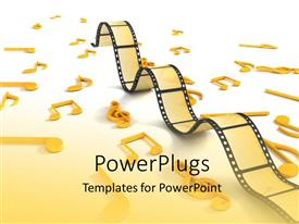 PowerPlugs: PowerPoint template with three dimensional negative roll with musical notes in yellow