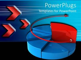 PowerPoint template displaying three dimensional pie chart with red circular arrow suggesting continued growth