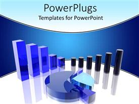 PowerPlugs: PowerPoint template with three dimensional pie graph and bar charts