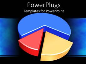 PowerPlugs: PowerPoint template with three dimensional pie graph in blue, red, and yellow