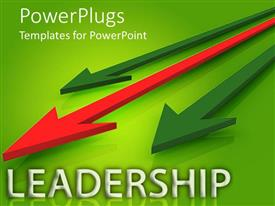 PowerPlugs: PowerPoint template with three dimensional red arrow leading two green arrows