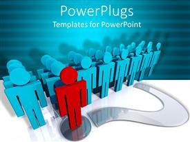 PowerPlugs: PowerPoint template with three dimensional red man on question mark symbol leading others in blue