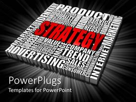 PowerPlugs: PowerPoint template with three dimensional red strategy white word cloud