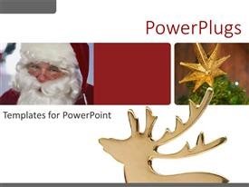PowerPoint template displaying three dimensional reindeer with collage of Santa and Christmas decoration