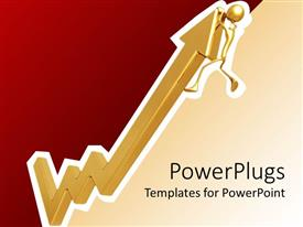 PowerPlugs: PowerPoint template with three dimensional upward pointing gold arrow with figure hanging from top