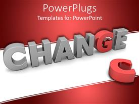 PowerPlugs: PowerPoint template with three dimensional word change in gray letters with red G replacing discarded C