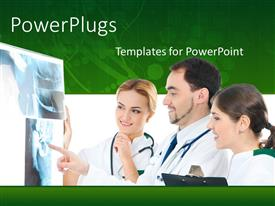 PowerPlugs: PowerPoint template with three doctors examining x-ray scan with stethoscope around neck