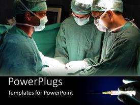 PowerPlugs: PowerPoint template with three doctors in scrubs and surgical masks