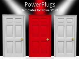 PowerPlugs: PowerPoint template with three doors, two white doors and a red doors in the center, over black background