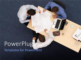 PowerPoint template displaying three executives discussing some documents on table with blue flooring