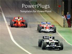 PowerPlugs: PowerPoint template with three fast race cars speeding down a race ground