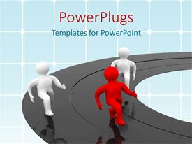 PowerPlugs: PowerPoint template with three figures racing on black mirrored track