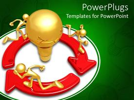 PowerPlugs: PowerPoint template with three figures running around a bulb like shape