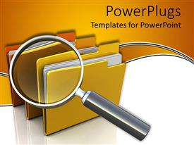 PowerPlugs: PowerPoint template with three folders with documents and a large magnifying glass on folders on yellow and white background