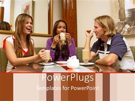 PowerPoint template displaying three friends drinking coffee and laughing